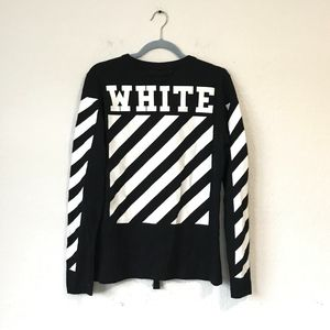 OFF-WHITE Black Long Sleeve Tee With Stripes